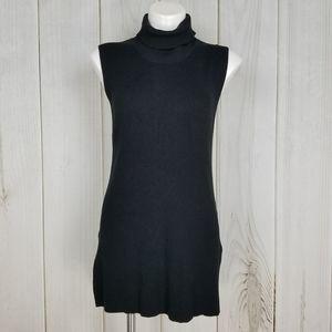 Adrianna Papell Black Turtleneck Tunic Sweater Top
